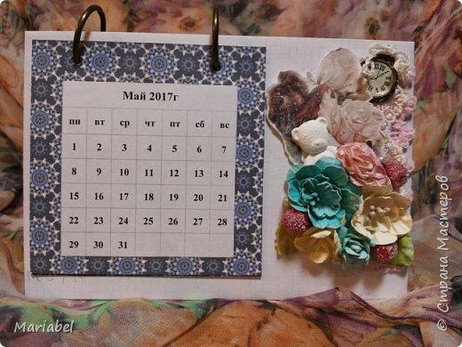 Всем привет! Сегодня я с календарем на следующий год! Я не знаю в каком стиле выполнен мой календарь, я просто творила по наитию и по мастер классу, который я нашла на просторах интернета (правда не помню автора).  Вот такой он у меня получился! Единственное я поменяла кольца на белые, но к сожалению фото нет!   фото 3