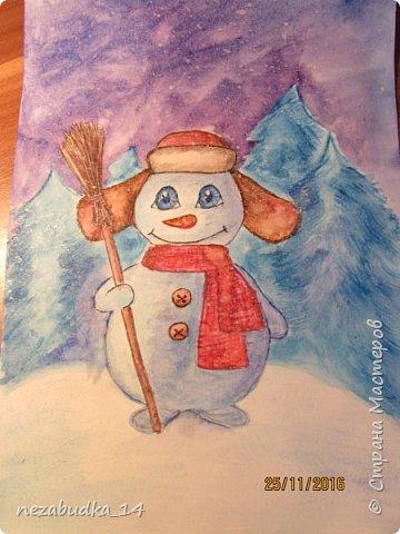 А это наш конкурсный снеговичок
