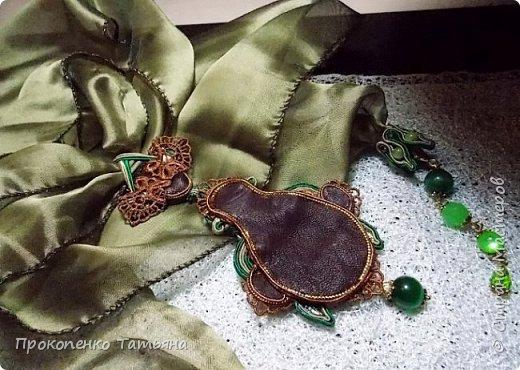 В моем украшении есть новые детали (сама придумала) бейл из сутажа для шарфика и колпачки из сутажа для кончиков шарфика. фото 8