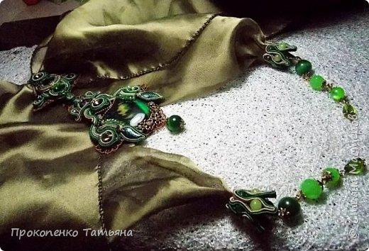 В моем украшении есть новые детали (сама придумала) бейл из сутажа для шарфика и колпачки из сутажа для кончиков шарфика. фото 6