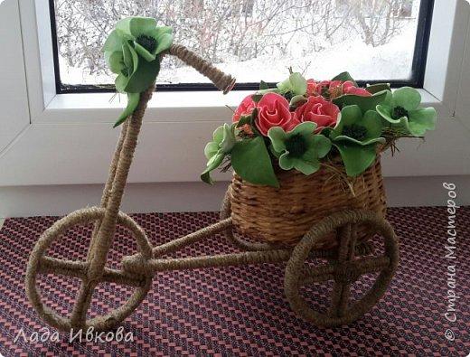 Всем привет! Давно хотела сделать такой велосипед. Наконец-то  собралась. Вот МК http://stranamasterov.ru/node/505344 .  фото 1