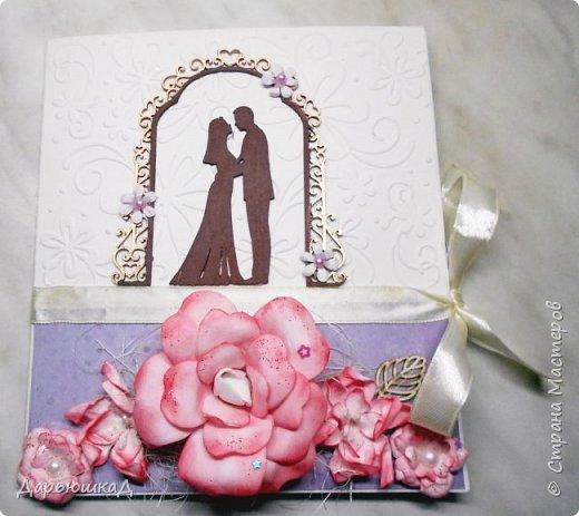 Такая очаровательная открытка на свадьбу у меня получилась. Половина открытки - лист с тиснением. фото 1