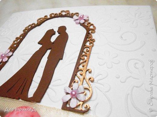 Такая очаровательная открытка на свадьбу у меня получилась. Половина открытки - лист с тиснением. фото 2