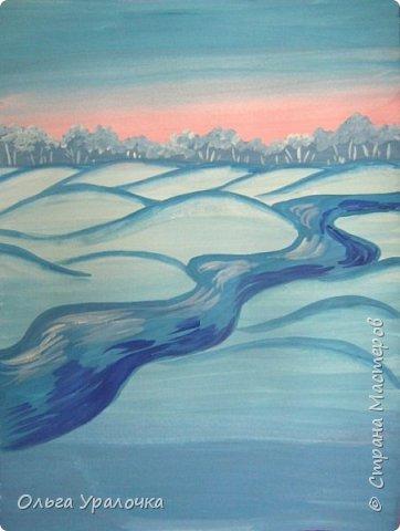 """За окном чудесная погода по настоящему зимняя и морозная, и  мне хотелось бы поделиться  мастер-классом по рисованию """"Зимний пейзаж. Морозное утро"""", он для тех, кто хотел бы попробовать себя в художественном творчестве. Работа может быть выполнении как людьми с опытом рисования, так и новичками. Поэтапное рисование - поможет вам избежать наиболее часто встречающихся ошибок и придаст уверенности в собственных силах. Работа выполняется без предварительного рисунка. Материалы: гуашь ватман формата А-3., нейлоновые кисти под номерами 2, 3, 5.  фото 13"""