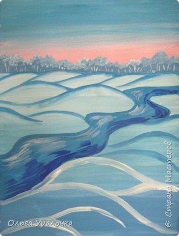 """За окном чудесная погода по настоящему зимняя и морозная, и  мне хотелось бы поделиться  мастер-классом по рисованию """"Зимний пейзаж. Морозное утро"""", он для тех, кто хотел бы попробовать себя в художественном творчестве. Работа может быть выполнении как людьми с опытом рисования, так и новичками. Поэтапное рисование - поможет вам избежать наиболее часто встречающихся ошибок и придаст уверенности в собственных силах. Работа выполняется без предварительного рисунка. Материалы: гуашь ватман формата А-3., нейлоновые кисти под номерами 2, 3, 5.  фото 14"""