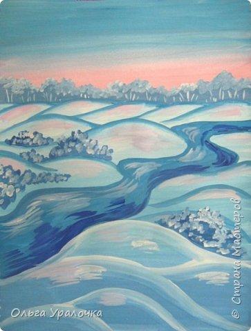 """За окном чудесная погода по настоящему зимняя и морозная, и  мне хотелось бы поделиться  мастер-классом по рисованию """"Зимний пейзаж. Морозное утро"""", он для тех, кто хотел бы попробовать себя в художественном творчестве. Работа может быть выполнении как людьми с опытом рисования, так и новичками. Поэтапное рисование - поможет вам избежать наиболее часто встречающихся ошибок и придаст уверенности в собственных силах. Работа выполняется без предварительного рисунка. Материалы: гуашь ватман формата А-3., нейлоновые кисти под номерами 2, 3, 5.  фото 18"""