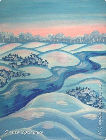 """За окном чудесная погода по настоящему зимняя и морозная, и  мне хотелось бы поделиться  мастер-классом по рисованию """"Зимний пейзаж. Морозное утро"""", он для тех, кто хотел бы попробовать себя в художественном творчестве. Работа может быть выполнении как людьми с опытом рисования, так и новичками. Поэтапное рисование - поможет вам избежать наиболее часто встречающихся ошибок и придаст уверенности в собственных силах. Работа выполняется без предварительного рисунка. Материалы: гуашь ватман формата А-3., нейлоновые кисти под номерами 2, 3, 5.  фото 19"""