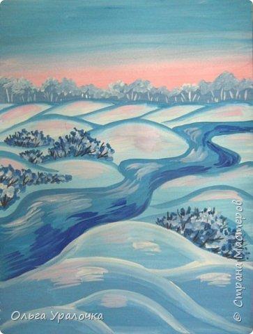 """За окном чудесная погода по настоящему зимняя и морозная, и  мне хотелось бы поделиться  мастер-классом по рисованию """"Зимний пейзаж. Морозное утро"""", он для тех, кто хотел бы попробовать себя в художественном творчестве. Работа может быть выполнении как людьми с опытом рисования, так и новичками. Поэтапное рисование - поможет вам избежать наиболее часто встречающихся ошибок и придаст уверенности в собственных силах. Работа выполняется без предварительного рисунка. Материалы: гуашь ватман формата А-3., нейлоновые кисти под номерами 2, 3, 5.  фото 20"""