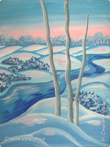 """За окном чудесная погода по настоящему зимняя и морозная, и  мне хотелось бы поделиться  мастер-классом по рисованию """"Зимний пейзаж. Морозное утро"""", он для тех, кто хотел бы попробовать себя в художественном творчестве. Работа может быть выполнении как людьми с опытом рисования, так и новичками. Поэтапное рисование - поможет вам избежать наиболее часто встречающихся ошибок и придаст уверенности в собственных силах. Работа выполняется без предварительного рисунка. Материалы: гуашь ватман формата А-3., нейлоновые кисти под номерами 2, 3, 5.  фото 22"""