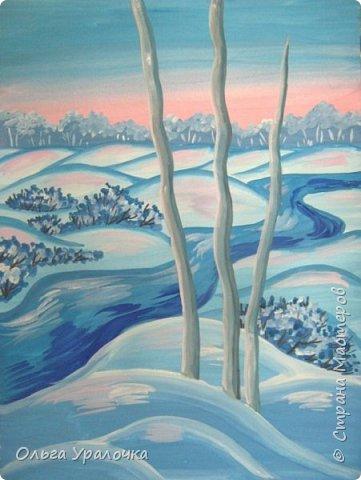 """За окном чудесная погода по настоящему зимняя и морозная, и  мне хотелось бы поделиться  мастер-классом по рисованию """"Зимний пейзаж. Морозное утро"""", он для тех, кто хотел бы попробовать себя в художественном творчестве. Работа может быть выполнении как людьми с опытом рисования, так и новичками. Поэтапное рисование - поможет вам избежать наиболее часто встречающихся ошибок и придаст уверенности в собственных силах. Работа выполняется без предварительного рисунка. Материалы: гуашь ватман формата А-3., нейлоновые кисти под номерами 2, 3, 5.  фото 23"""