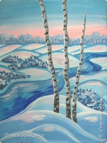 """За окном чудесная погода по настоящему зимняя и морозная, и  мне хотелось бы поделиться  мастер-классом по рисованию """"Зимний пейзаж. Морозное утро"""", он для тех, кто хотел бы попробовать себя в художественном творчестве. Работа может быть выполнении как людьми с опытом рисования, так и новичками. Поэтапное рисование - поможет вам избежать наиболее часто встречающихся ошибок и придаст уверенности в собственных силах. Работа выполняется без предварительного рисунка. Материалы: гуашь ватман формата А-3., нейлоновые кисти под номерами 2, 3, 5.  фото 24"""
