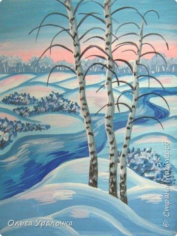 """За окном чудесная погода по настоящему зимняя и морозная, и  мне хотелось бы поделиться  мастер-классом по рисованию """"Зимний пейзаж. Морозное утро"""", он для тех, кто хотел бы попробовать себя в художественном творчестве. Работа может быть выполнении как людьми с опытом рисования, так и новичками. Поэтапное рисование - поможет вам избежать наиболее часто встречающихся ошибок и придаст уверенности в собственных силах. Работа выполняется без предварительного рисунка. Материалы: гуашь ватман формата А-3., нейлоновые кисти под номерами 2, 3, 5.  фото 25"""