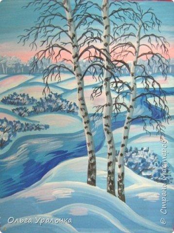 """За окном чудесная погода по настоящему зимняя и морозная, и  мне хотелось бы поделиться  мастер-классом по рисованию """"Зимний пейзаж. Морозное утро"""", он для тех, кто хотел бы попробовать себя в художественном творчестве. Работа может быть выполнении как людьми с опытом рисования, так и новичками. Поэтапное рисование - поможет вам избежать наиболее часто встречающихся ошибок и придаст уверенности в собственных силах. Работа выполняется без предварительного рисунка. Материалы: гуашь ватман формата А-3., нейлоновые кисти под номерами 2, 3, 5.  фото 26"""