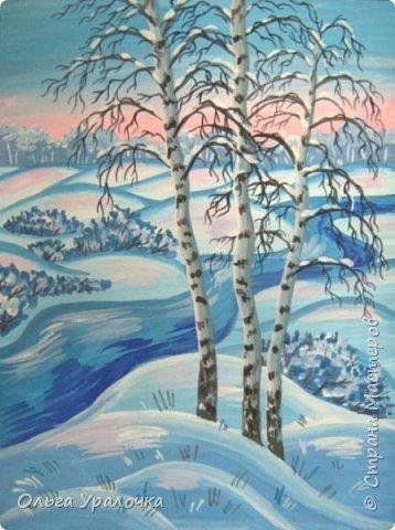 """За окном чудесная погода по настоящему зимняя и морозная, и  мне хотелось бы поделиться  мастер-классом по рисованию """"Зимний пейзаж. Морозное утро"""", он для тех, кто хотел бы попробовать себя в художественном творчестве. Работа может быть выполнении как людьми с опытом рисования, так и новичками. Поэтапное рисование - поможет вам избежать наиболее часто встречающихся ошибок и придаст уверенности в собственных силах. Работа выполняется без предварительного рисунка. Материалы: гуашь ватман формата А-3., нейлоновые кисти под номерами 2, 3, 5.  фото 27"""