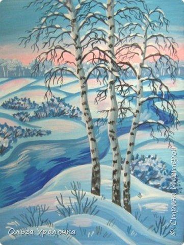 """За окном чудесная погода по настоящему зимняя и морозная, и  мне хотелось бы поделиться  мастер-классом по рисованию """"Зимний пейзаж. Морозное утро"""", он для тех, кто хотел бы попробовать себя в художественном творчестве. Работа может быть выполнении как людьми с опытом рисования, так и новичками. Поэтапное рисование - поможет вам избежать наиболее часто встречающихся ошибок и придаст уверенности в собственных силах. Работа выполняется без предварительного рисунка. Материалы: гуашь ватман формата А-3., нейлоновые кисти под номерами 2, 3, 5.  фото 28"""