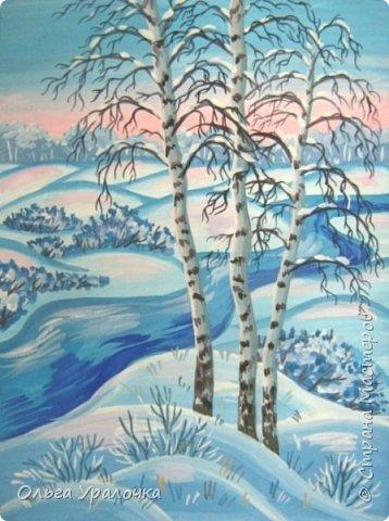"""За окном чудесная погода по настоящему зимняя и морозная, и  мне хотелось бы поделиться  мастер-классом по рисованию """"Зимний пейзаж. Морозное утро"""", он для тех, кто хотел бы попробовать себя в художественном творчестве. Работа может быть выполнении как людьми с опытом рисования, так и новичками. Поэтапное рисование - поможет вам избежать наиболее часто встречающихся ошибок и придаст уверенности в собственных силах. Работа выполняется без предварительного рисунка. Материалы: гуашь ватман формата А-3., нейлоновые кисти под номерами 2, 3, 5.  фото 29"""