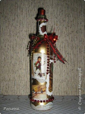 Бутылка интерьерная новогодняя №1 фото 1