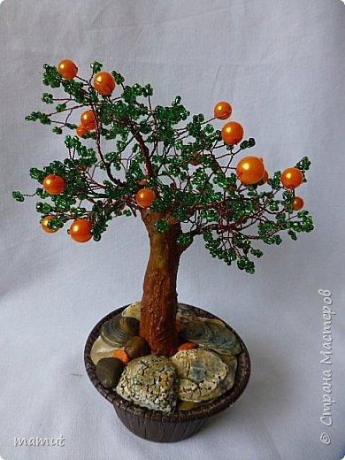 Апельсиновое дерево из бисера. Высота около 15 см. фото 1