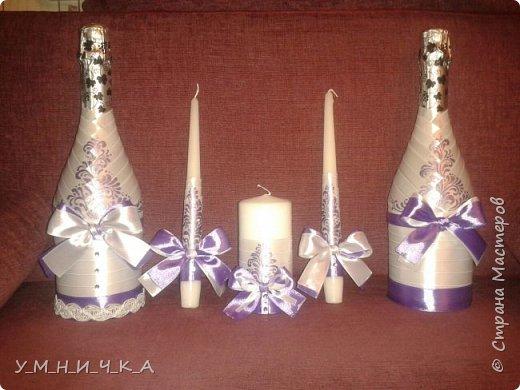 Свадебный набор (бутылки, свечи, фужеры) фото 1