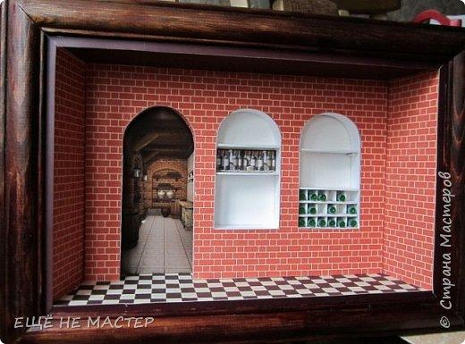 """Здравствуйте, дорогие гости""""! Закончила свою третью настенную миниатюру """" Мой погребок"""". Первая была """" Парижское кафе"""" http://stranamasterov.ru/node/942610, вторая """" Булочная- кондитерская"""" http://stranamasterov.ru/node/980769. Размер работы 25х35 см. фото 6"""