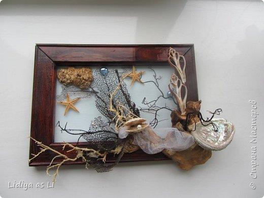 Вот что получилось из подручных средств - ракушки, морские звезды, бусины, коралловые ветки, губки морские и сетка.  фото 1