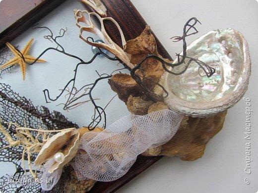 Вот что получилось из подручных средств - ракушки, морские звезды, бусины, коралловые ветки, губки морские и сетка.  фото 3