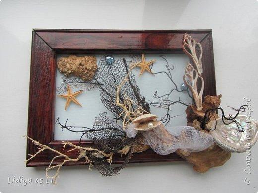 Вот что получилось из подручных средств - ракушки, морские звезды, бусины, коралловые ветки, губки морские и сетка.  фото 5