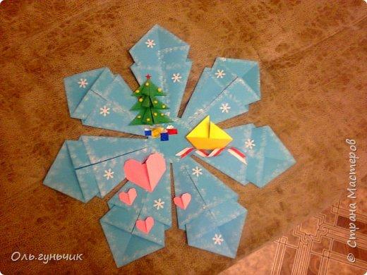 Здравствуйте всем! Попросили меня в школе оформить небольшими плакатами стенд на все времена года...Осень покажу ниже, а это зима...снежинка в технике оригами. Спасибо Голубке за идеи...делала с ребятами ее календарики, а тут решила совместить все зимние месяца и праздники в эти месяцы. Вот что у меня получилось...мне понравилось...все придумала сама, воспользовалась только схемами оригами. фото 7