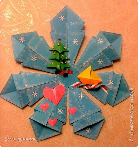 Здравствуйте всем! Попросили меня в школе оформить небольшими плакатами стенд на все времена года...Осень покажу ниже, а это зима...снежинка в технике оригами. Спасибо Голубке за идеи...делала с ребятами ее календарики, а тут решила совместить все зимние месяца и праздники в эти месяцы. Вот что у меня получилось...мне понравилось...все придумала сама, воспользовалась только схемами оригами. фото 1