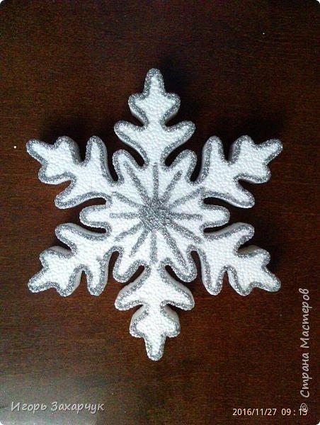"""Новогодний сувенир """"Снеговик"""" из пенопластовых шариков. Высота: 30 см. фото 6"""