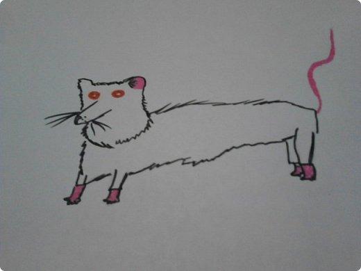Здравствуй, Страна Мастеров! Как же давно меня тут не было! Сейчас я покажу вам свои новые рисунки.  На уроке ИЗО рисовали необычных существ. Вот мой рисунок. Крылатый Волк. фото 29