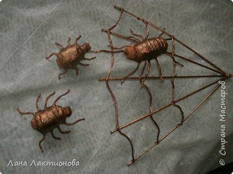 Здравствуйте жители Страны Мастеров - решила переделать паучков и сделала  еще одного паучка, что-бы была семья. фото 1