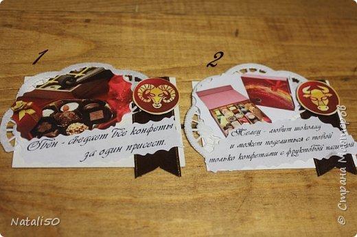 """Доброго всем вечера! приглашаю на 6 этап совместника.Тема """"Шоколадные конфеты"""" Думала я думала и вот что надумала..конфеты и знаки зодиака. Выбирают участники совместника https://stranamasterov.ru/node/1055187#comment-14335674 ,а после выбора участников,оставшиеся могут выбрать гости. ДА и сюрприз есть  в одной карточке! фото 2"""
