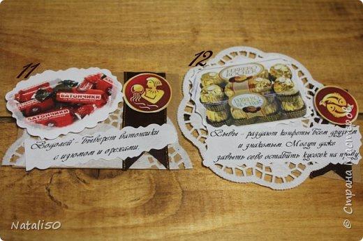 """Доброго всем вечера! приглашаю на 6 этап совместника.Тема """"Шоколадные конфеты"""" Думала я думала и вот что надумала..конфеты и знаки зодиака. Выбирают участники совместника http://stranamasterov.ru/node/1055187#comment-14335674 ,а после выбора участников,оставшиеся могут выбрать гости. ДА и сюрприз есть  в одной карточке! фото 7"""