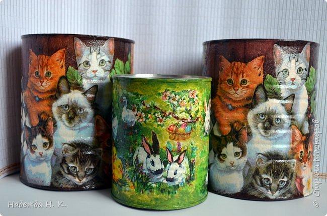 """Здравствуйте, доброго времени  суток всем! Недавно я показывала  свои  декорированные жестяные баночки,  теперь на  ваш суд выставляю новые работы. Комплект первый:  """"Забавные животные"""".  Племянница попросила  красивые емкости для  хранения кормов для ее любимых  кошек.  фото 1"""