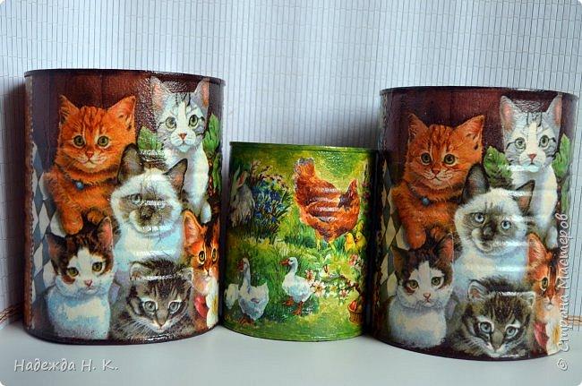 """Здравствуйте, доброго времени  суток всем! Недавно я показывала  свои  декорированные жестяные баночки,  теперь на  ваш суд выставляю новые работы. Комплект первый:  """"Забавные животные"""".  Племянница попросила  красивые емкости для  хранения кормов для ее любимых  кошек.  фото 2"""