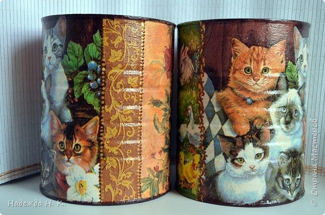 """Здравствуйте, доброго времени  суток всем! Недавно я показывала  свои  декорированные жестяные баночки,  теперь на  ваш суд выставляю новые работы. Комплект первый:  """"Забавные животные"""".  Племянница попросила  красивые емкости для  хранения кормов для ее любимых  кошек.  фото 4"""