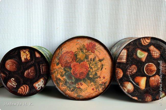 """Здравствуйте, доброго времени  суток всем! Недавно я показывала  свои  декорированные жестяные баночки,  теперь на  ваш суд выставляю новые работы. Комплект первый:  """"Забавные животные"""".  Племянница попросила  красивые емкости для  хранения кормов для ее любимых  кошек.  фото 6"""