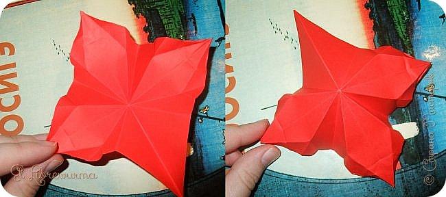 """Я немного пурист от оригами: модель должна быть сложена из квадратного, на худой конец, прямоугольного листа, ножницы и клей — табу. Соответственно, кусудамы клеевой сборки я презирала. Исключение было сделано лишь для этой и ещё одной модели, которые обе на клею, однако у них есть веское оправдание. Модель """"Цветочный шар"""" классическая, аутентичная и древняя настолько, что имя создателя потерялось во тьме веков, как и у другой кусудамы, которая так и называется — """"Классическая"""". Именно мысль, что сами древние японцы не гнушались использовать клей, и примирила меня с его использованием))) фото 15"""