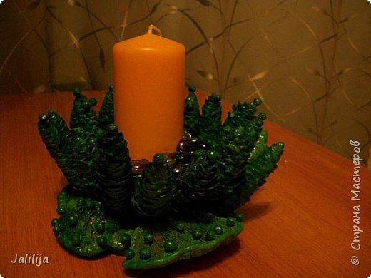 Уважаемые мастера, может кому-нибудь пригодится вот эта идея новогоднего подсвечника. Она из шишек и грибов -.тутовиков. фото 4