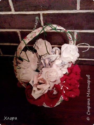 Корзиночка на день рождения коллеге. Проба пера. Внутри роз конфетки и добавлены розы из денюжек. фото 2