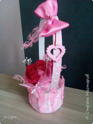 Корзиночка на день рождения коллеге. Проба пера. Внутри роз конфетки и добавлены розы из денюжек. фото 4