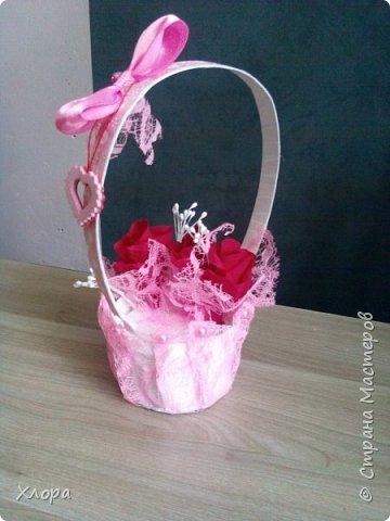 Корзиночка на день рождения коллеге. Проба пера. Внутри роз конфетки и добавлены розы из денюжек. фото 5