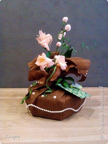 Корзиночка на день рождения коллеге. Проба пера. Внутри роз конфетки и добавлены розы из денюжек. фото 6