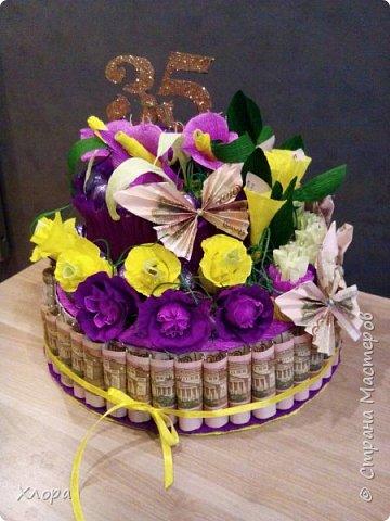 Корзиночка на день рождения коллеге. Проба пера. Внутри роз конфетки и добавлены розы из денюжек. фото 9