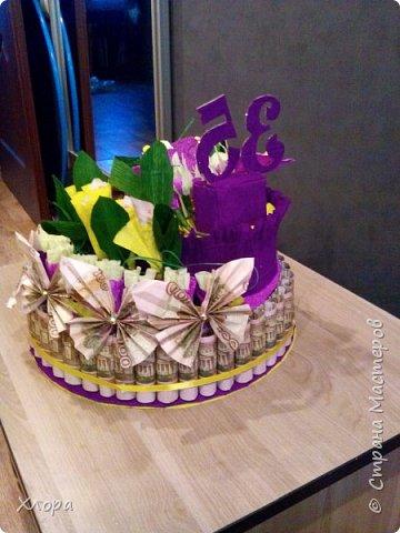 Корзиночка на день рождения коллеге. Проба пера. Внутри роз конфетки и добавлены розы из денюжек. фото 11