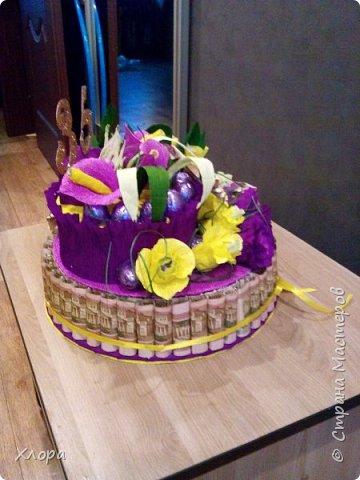 Корзиночка на день рождения коллеге. Проба пера. Внутри роз конфетки и добавлены розы из денюжек. фото 12