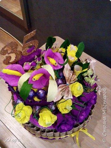 Корзиночка на день рождения коллеге. Проба пера. Внутри роз конфетки и добавлены розы из денюжек. фото 13