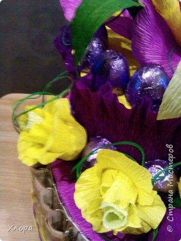 Корзиночка на день рождения коллеге. Проба пера. Внутри роз конфетки и добавлены розы из денюжек. фото 16