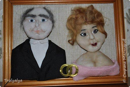 На золотую свадьбу родителей изготовила вот такой портрет в чулочной технике. За основу взята была их свадебная фотография и нынешняя фотка с ДР папы)) фото 1